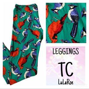 LuLaRoe TC Leggings Birds Blue Jay Cardinal New